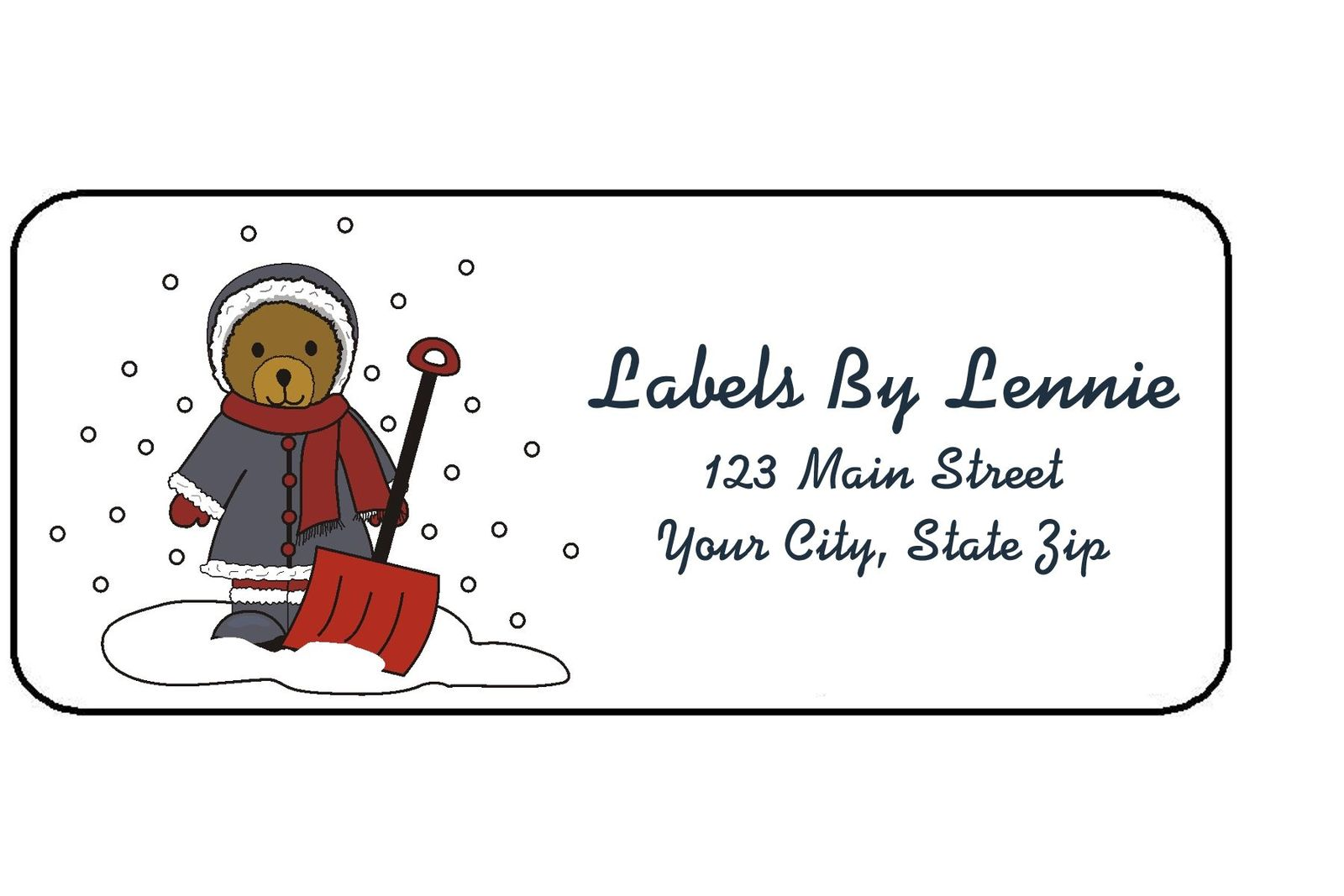 Teddy In The Snow Storm #7 Personalized Return Address Labels