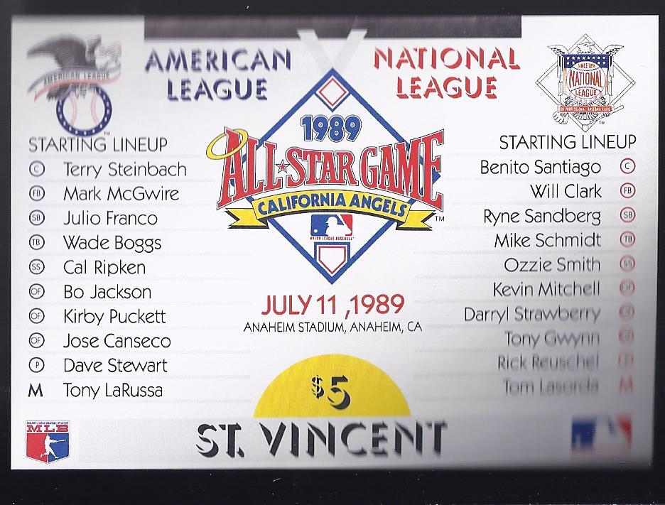 Primary image for 1989 All Star Game American League vs National League St Vincent Stamp Sheet