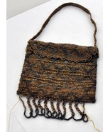 ANTIQUE BEADED BAG FRINGE SILK BRIDE DOLL COIN PURSE TINY EVENING CLUTCH... - $39.60
