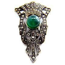 Art Deco Marcasite Green Chrysoprase Sterling Silver Pin Clip 1920 S Chic - $113.85