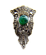 ART DECO MARCASITE GREEN CHRYSOPRASE STERLING SILVER PIN CLIP 1920S CHIC - $113.85