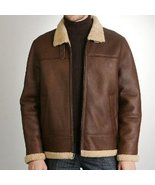 Handmade men's brown fleece leather jacket, Mens brown sherling leather ... - $199.99