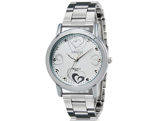 Primary image for MIKE 8192 Heart & Heart Print Women's Analog Watch with Stainless Steel Strap