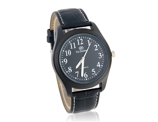 Primary image for Os.Danon Stylish Men's Crystal Decorated Watch with PU Leather Strap (Black)