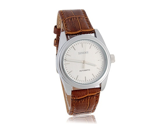 Primary image for SINOBI Unisex Automatic Mechanical Watch with Leather Strap (Brown)
