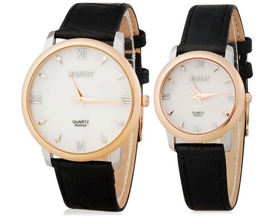 Primary image for Moment 8005 Round Dial Analog Quartz Couple Watches for Lovers (Black)