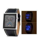 Japanese Movement Racing Car Dashboard Design Square Shaped LED Watch with - $11.99