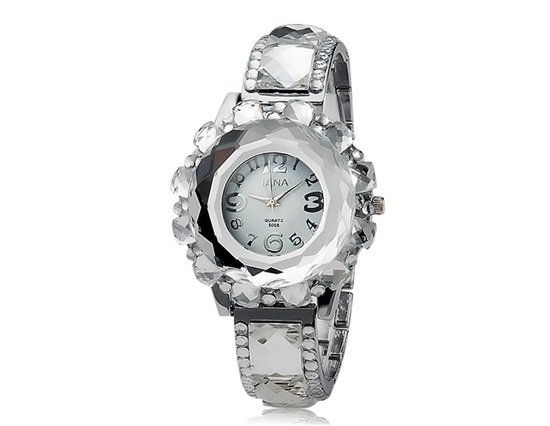 Primary image for Women's Round Dial Crystal Decoration Analog Quartz Watch (Silver)