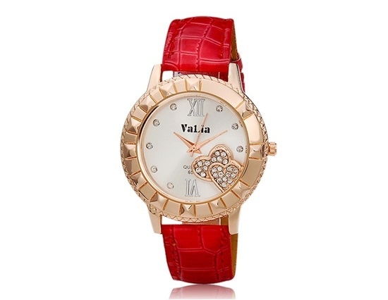 Primary image for VaLia 6551 Women's Round Dial Analog Watch with Crystal Decoration (Red)