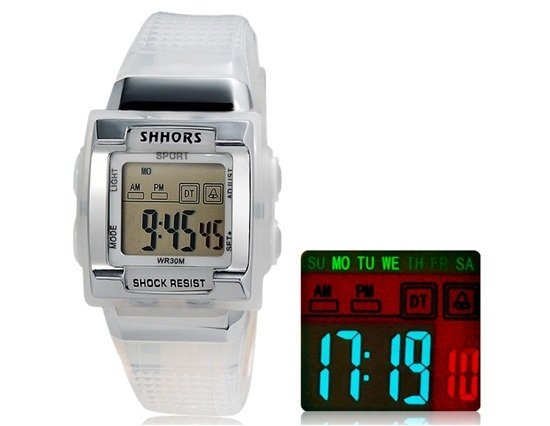 Primary image for SHORS SH-358 Unisex Rectangular LED Digital Display Waterproof Watch (White)