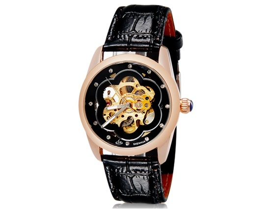 Primary image for SH Women's Crystal Decorated Plum Blossom Print Round Analog Automatic
