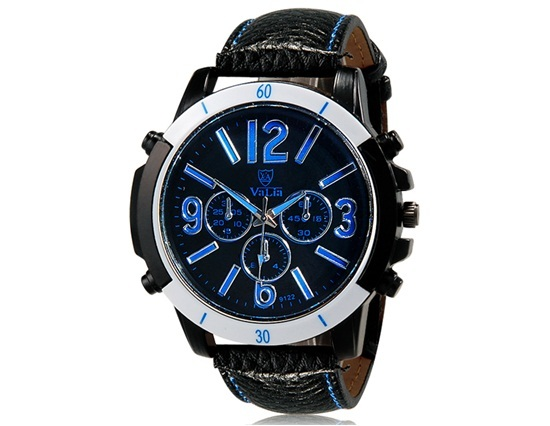 Primary image for VaLia 9122 Fashionable Men's Analog Watch with Faux Leather Strap (Blue)