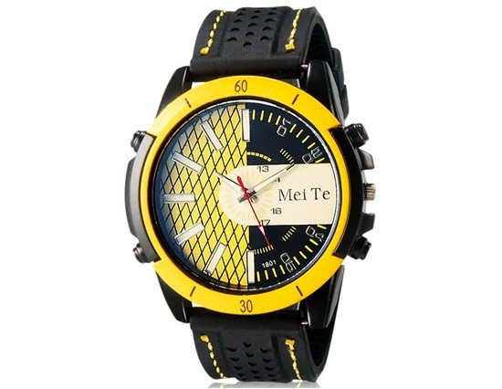 Primary image for MeiTe 1801 Men's Round Analog Watch with Quartz Movement & Rubber Strap