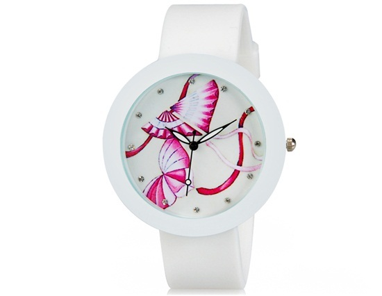 Primary image for Kite Pattern Rhinestone Decorated Analog Wrist Watch with Silicone Band