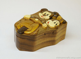 Hand Carved Wood Art Intarsia Mickey Puzzle Jewelry Trinket Box Home Decor - $25.00
