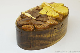 Hand Carved Wood Art Intarsia Flower Puzzle Jewelry Trinket Box Home Decor - $25.00