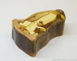 Hand Carved Wood Art Intarsia Penguin Puzzle Jewelry Trinket Box Home Decor - $25.00