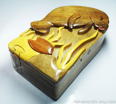 Hand Carved Wood Art Intarsia Puzzle Jewelry Trinket Box Home Decor - $25.00
