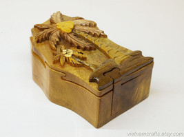 Hand Carved Wood Art Intarsia Coco Puzzle Jewelry Trinket Box Home Decor - $25.00