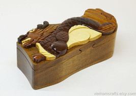 Hand Carved Wood Art Intarsia Dragon Puzzle Jewelry Trinket Box Home Decor - $25.00