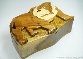 Hand Carved Wood Art Intarsia Dog Puzzle Jewelry Trinket Box Home Decor - $25.00