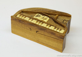 Hand Carved Wood Art Intarsia Piano Puzzle Jewelry Trinket Box Home Decor - $25.00