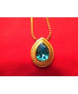 Pendent and chain, Gold tone with Teal stone. Estste Find - $5.00