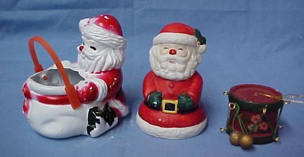 Primary image for Christmas Ornament Lot Ebeling Reuss Musical Santa Figurine Drum Holiday Vintage