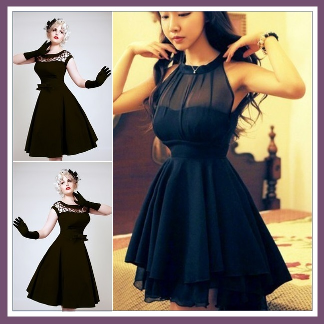 "Retro ""Marilynn"" Black Sheer Transparent Bodice Princess Waist Mini Ball Gown"