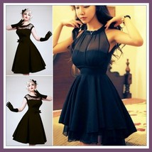 "Retro ""Marilynn"" Black Sheer Transparent Bodice Princess Waist Mini Ball Gown - $72.95"