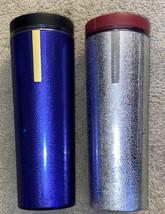 WOW STARBUCKS Lot Dk Blue & Silver Pebble Textured 16oz DOUBLE WALL TUMB... - $18.35