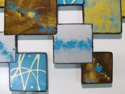 Geometric Abstract Wall Sculpture 50x30 Blue Laguna Square