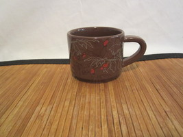 2009 Starbucks Coffee Mug Tea Cup Brown Abstract Leaves Red Berries Stac... - $10.99