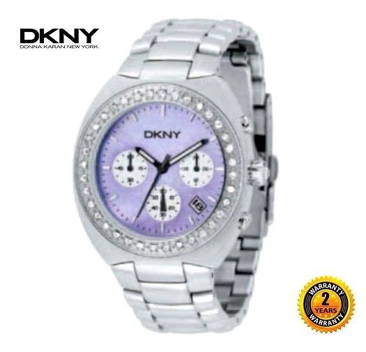 Primary image for DKNY NY5068 Women Round CHRONO Watch SILVER STEEL BRACELET Purple Dial CRYSTALS