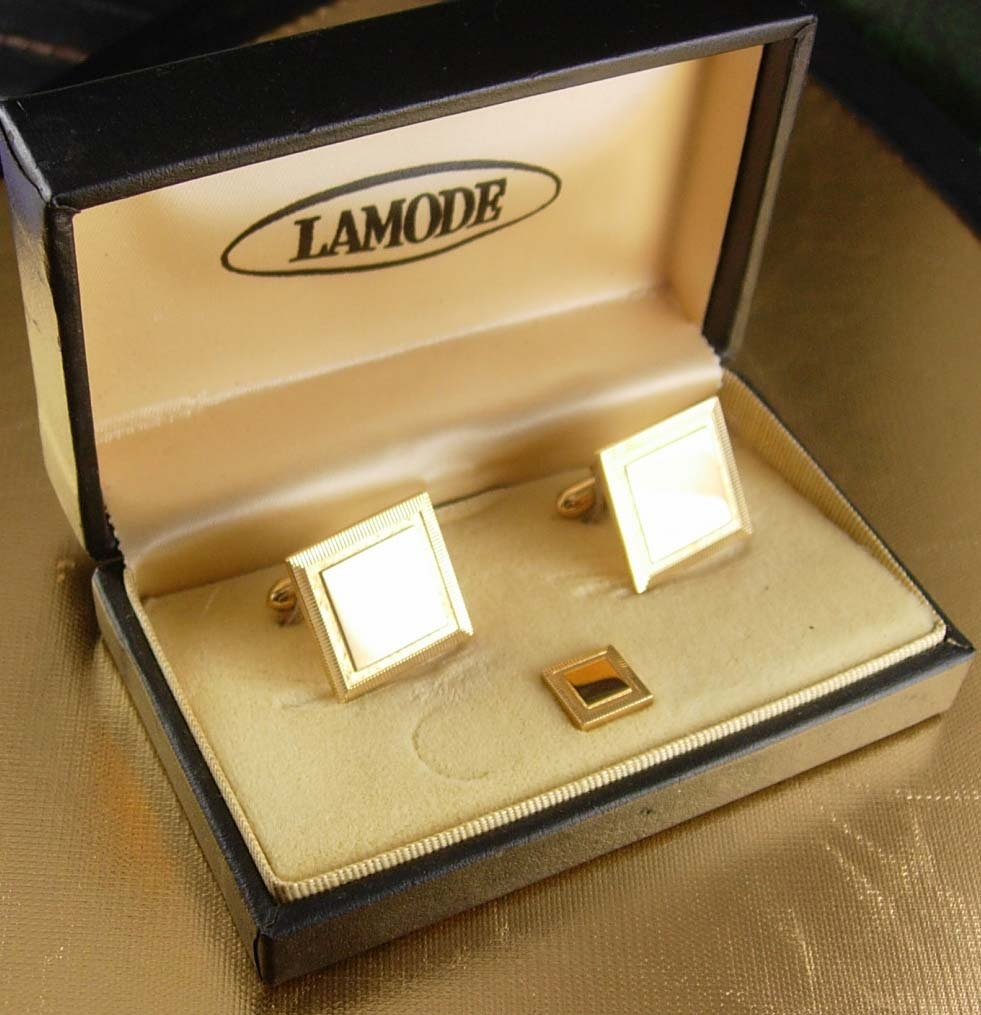 Primary image for Gold Elegance Cufflink engravable Set Vintage Tie Tack with Chain Designer Lamod