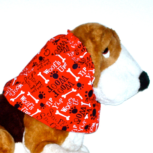 Primary image for Dog Snood Red Black White Woofs Up Cotton Basset Afghan Size Puppy REGULAR