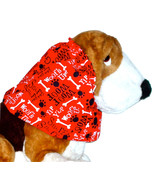 Dog Snood Red Black White Woofs Up Cotton Basset Afghan Size Puppy REGULAR - $12.00