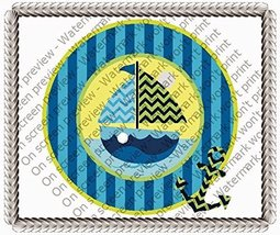 "2"" Cupcake (12 Per Sheet) - Blue Sailboat Birthday - Edible Cake or Cupc... - €7,31 EUR"