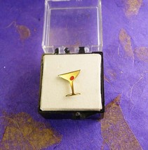Cocktail Tie Tack Vintage Gold Filled Martini Manhattan Happy Hour Bar T... - $85.00