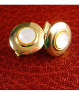 Snowdrops Cufflinks Vintage MOP centers Unisex Mother of Pearl Cuff link... - $50.00