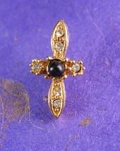 Rhinestone Cross Vintage Tie Tack Black Pearl Center Religious Christian... - $45.00