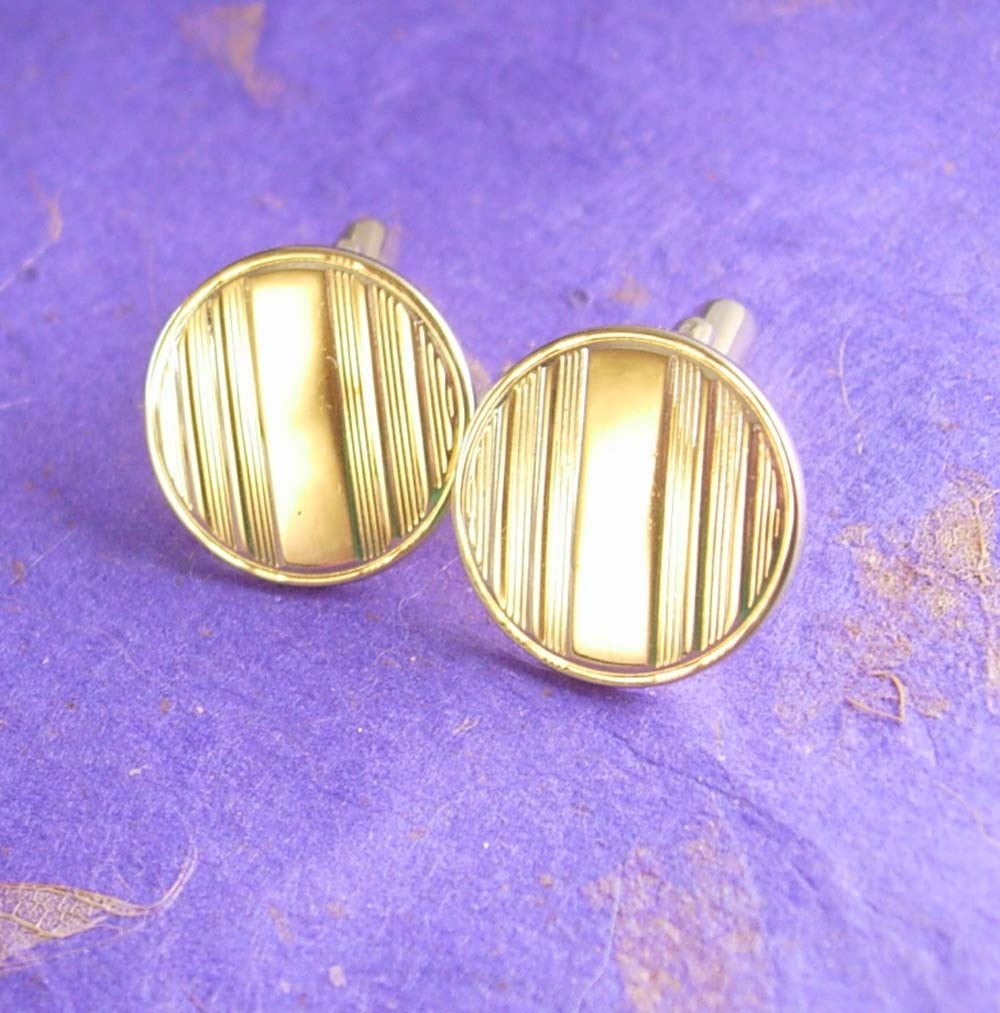 Primary image for Art Deco Ridged Cufflinks Vintage Blank Linear Lines Angled Posts Unisex Cuff Ac