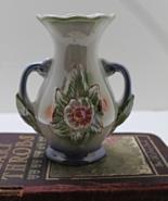 Vintage Brazilian Lusterware Floral Double Handled Vase - $12.50