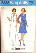 1970s Size 14 Bust 36 Look Slimmer Dress Maxi Simplicity 6883 Pattern - $8.99