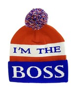 I'm The Boss Adult Size Tri-Color Striped Winter Knit Pom Beanie Red/Whi... - $11.95