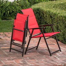 Outdoor Folding Chair Set of Two Red Unique Comfortable Padded Sling Fab... - $65.49