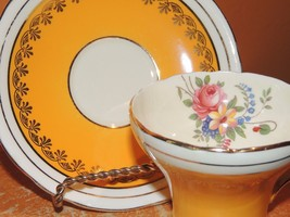 Aynsley England Bone China Cup & Saucer Sunny Yellow floral bouquet gold... - $34.99