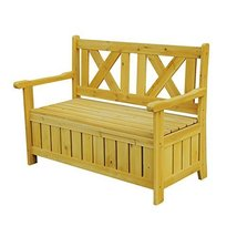 Patio Furniture Brown Wooden Outdoor Storage Bench. Wide, Comfortable Se... - $211.26