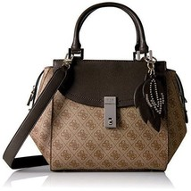 NEW GUESS Women Bag Handbag Shoulder Bag Brown 4G Logo Basique Pvc Moder... - $83.68