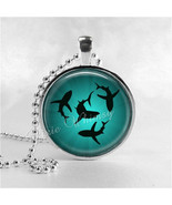 SHARKS CIRCLING Necklace Art Pendant Jewelry with Ball Chain, Shark Neck... - $12.95